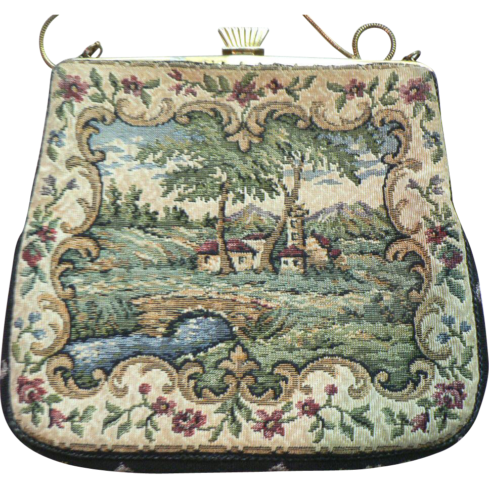 Vintage French Style Petit Point Tapestry Purse Hand Bag ...