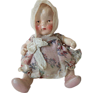 """3 1/2"""" Germany German Porcelain Baby Doll Factory Original Clothes"""