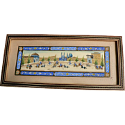 Persian Painting on Bone View of Naqsh-e Jahan Square & Polo Players Khatam Inlay Frame