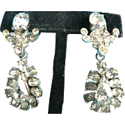 Vintage 1950's Dangle Clear Ice Rhinestone Earrings Screw-Back