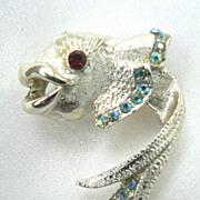Vintage Signed Koi Fish Pin with Aurora Rhinestones