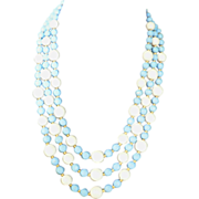 Mid-Century Triple Strand Sky Blue & White Facetted Plastic Lucite Bead Necklace