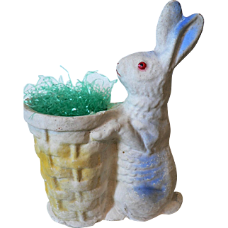 Paper Mache Easter Bunny Rabbit with Basket Candy Container