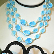 Vintage Aqua Blue & Faux Pearl Molded Poured Glass Flower Necklace & Earring Demi Parure