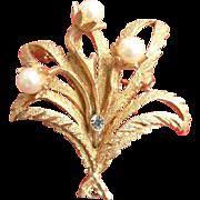 Corocraft Pin Pendant Floral Faux Pearl & Rhinestone Brooch