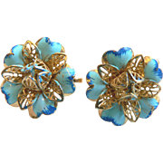 Beautiful 1960's Enamel & Gold Filigree Flower Earrings Old New Stock