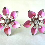 1950's Pink Star Flower  Rhinestone & Enameled Screw Earrings