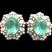 Beautiful Vintage Enamel Mini-Floral & Light Green Sterling Earrings