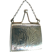 Gorgeous Antique Doll Purse Silver 925 Hinged Fashion