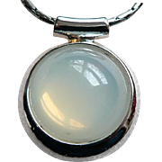 Gleaming Large Cabochon Faux Moonstone Pendant Necklace