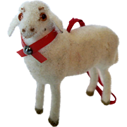 German Wagner Putz Stick Leg Wooly Sheep / Original Tag / Glass Eyes