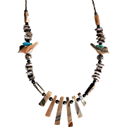 Vintage Native American Indian Zuni Fetish Necklace Sterling, Abalone and Turquoise