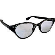 Tura Winged Cat Eye Glasses Vintage 1950s Black Enameled Metal & Engraved Ornament Design