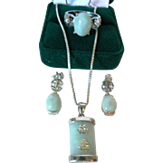 Vintage Asian Jade & Sterling Silver Parure, Pendant Necklace, Ring, & Earrings Stamped 925 DBJ