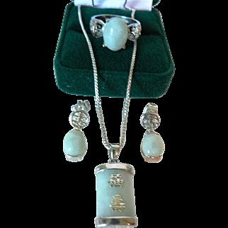 Vintage Asian Jade & Sterling Silver Parure, Pendant Necklace, Ring, & Earrings Stamped 925 DBJ
