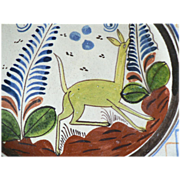 Early 1930s Mexican Pottery Bowl Platter Handpainted Coues Deer