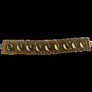 Vintage Glass Topaz Cabochon & Round Rhinestone Bracelet