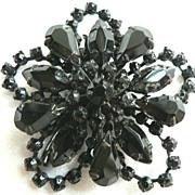 Vintage Large Black Rhinestone Flower Brooch with Ornate Japanned Metal Work