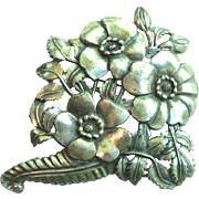 Large Vintage Little Nemo Silver Plated Flower Floral Pin Brooch