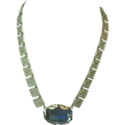 1920s Art Deco Czech Silver Filigree & Blue Glass Centerpiece Necklace