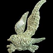 Circa 1910 Rhinestone & Rhodium Bird of Paradise Brooch Pin