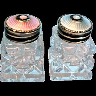 Vintage Norway Guilloche Enameled Sterling Silver & Crystal Salt & Pepper Shakers by Artist Hroar Prydz