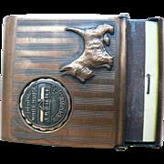 1930's Presidential Motif Match Safe Holder Vesta / Scottie Fala & F.D. Roosevelt's GA. Little White House