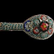 Circa 1910 Micro Mosaic Mandolin Italian Tile Pin Brooch