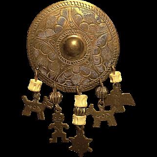 Vintage Native American Shield Pin with Dangle Bone Beads & Hand Stamped Dangle Dog, Mud Man, Thunderbird & Turtle