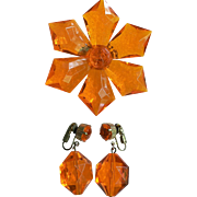 "1960's Vintage Large Orange Facetted Starburst Flower Pin & Dangle Bead Clip Earring Set ""West Germany"" Signed"