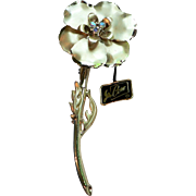 Coro Pegasus Hang Tag Gold Plated Dimensional Flower Pin with Aurora Borealis Rhinestones