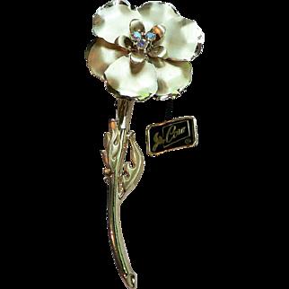 Coro Pegasus Hang Tag Gold Plated Dimensional Flower Pin with Aurora Borealis Rhinestones