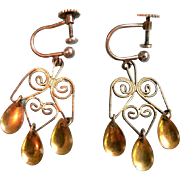 1920's Norwegian 830 Fine Silver Mark Filigree Dangle Drop Earrings Screwback