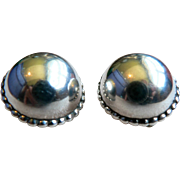 Gorgeous Large Signed Sterling Silver Clip Dome Earrings