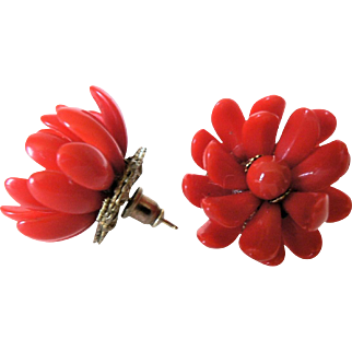 Vintage Miriam Haskell 1950's Glass Flower Pierced Earrings Brilliant Red & Russian Gold