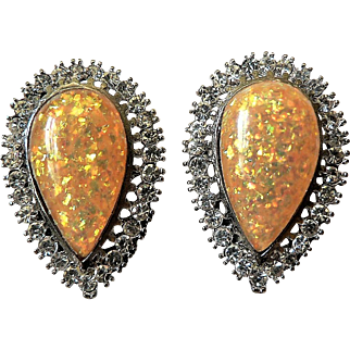 1950's Large Brilliant Glitter Fire Yellow Lucite & Rhinestone Tear Drop Earrings Clip-on