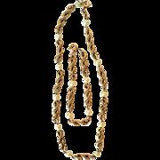 Vintage 1950's WINARD 1/20 12KT Gold Fill & Cultured Pearl Necklace & Bracelet Set 52.1gr.