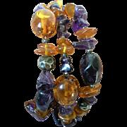 Vintage Baltic Amber / Amethyst & Sterling Silver Bracelet