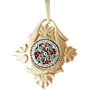 Rare Vintage 1910 Hand Carved Bone with Floral Micro Mosaic Inlay Pendant
