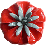 1960's Retro Enamel Flower Pin Dimensional Rich Red & Grey Enameling
