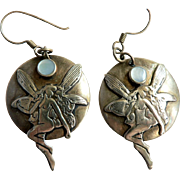 Gold Plated Winged Nude Fairy Pierced Earrings / w. Mother of Pearl Art Nouveau Style
