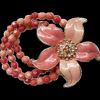 1960's Enamel Flower Bracelet with Rhinestones