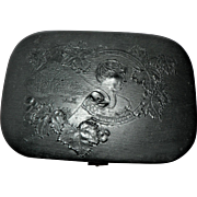 Rare Victorian Black Lacquer Papier Mache Hinged Box w/ Raised Relief Scene Containing Manicure Set