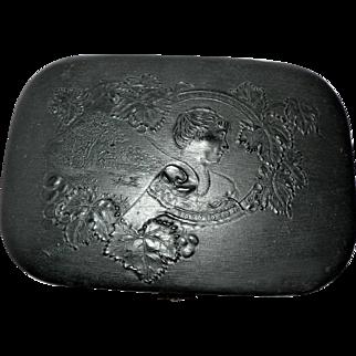 Rare Victorian Black Lacquer Papier Mache Hinged Box w/ Raised Relief Scene Containing Manicure Set