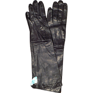 Vintage New Old Stock Tagged Long Cabretta Dark Navy Leather & Silk Lined Gloves Sz. 7