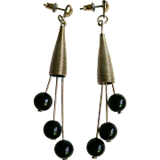 1950's-60's Modern Modernist Dangle Bead Atomic Pierced Earrings