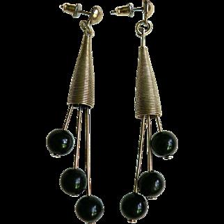 1950's-60's Modern Modernist Dangle Bead Atomic Pierced Earrings