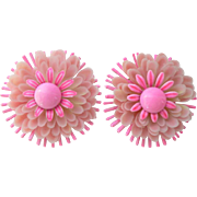 Classic 1960's Multi-Layered Pink Enameled Large Daisy Mum Clip Earrings