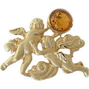 Vintage Baltic Amber Cherub Angel Brooch Pin Signed