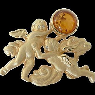 Vintage Baltic Amber Cherub Angel Brooch Pin Signed